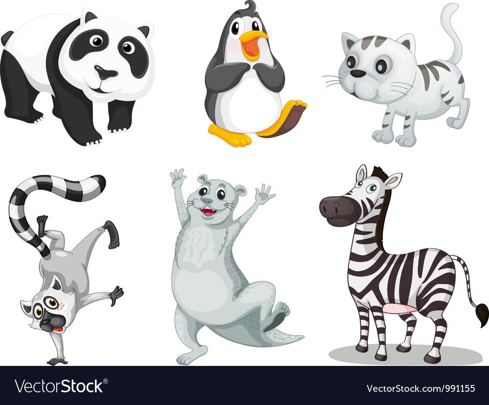 Cartoon animals set vector | Price: 1 Credit (USD $1)