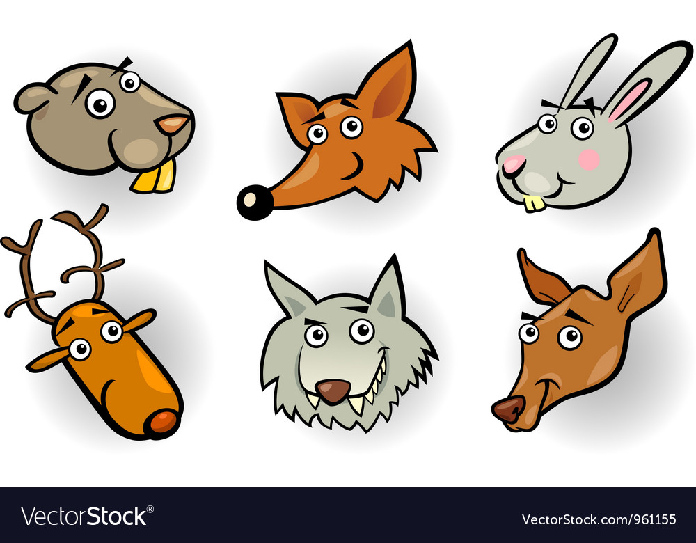 Cartoon forest animals heads set vector | Price: 3 Credit (USD $3)