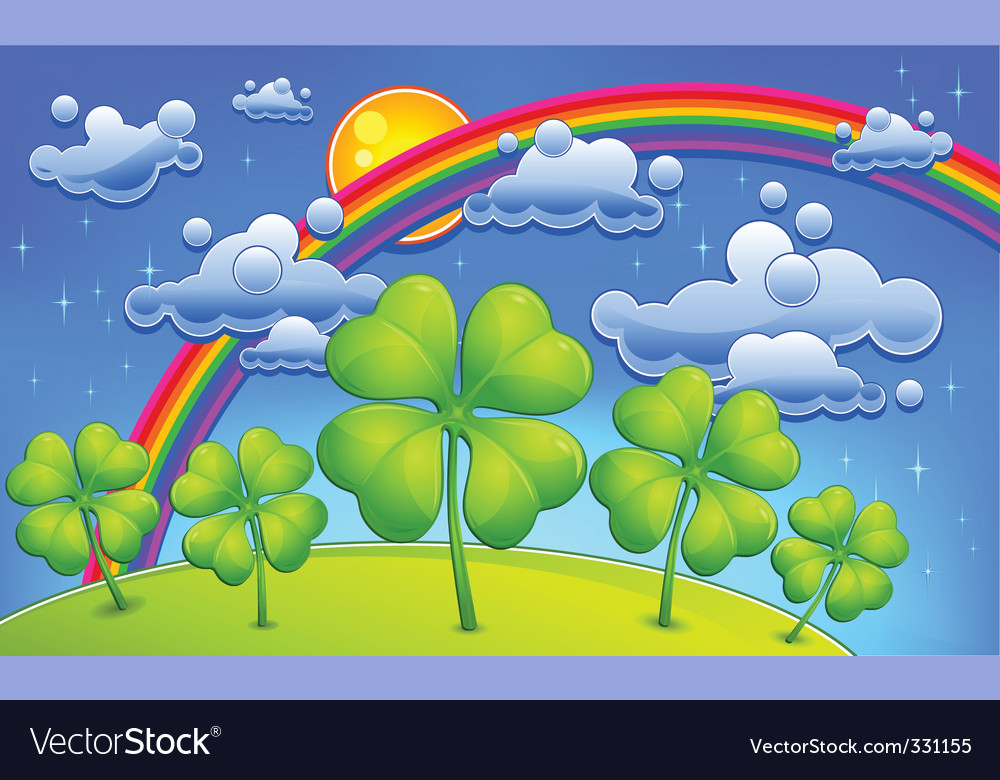 Clovers under rainbow vector | Price: 3 Credit (USD $3)