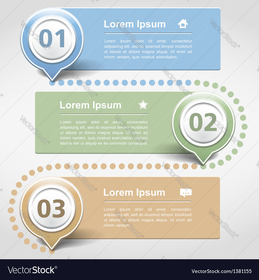 Design template with three banners vector | Price: 1 Credit (USD $1)