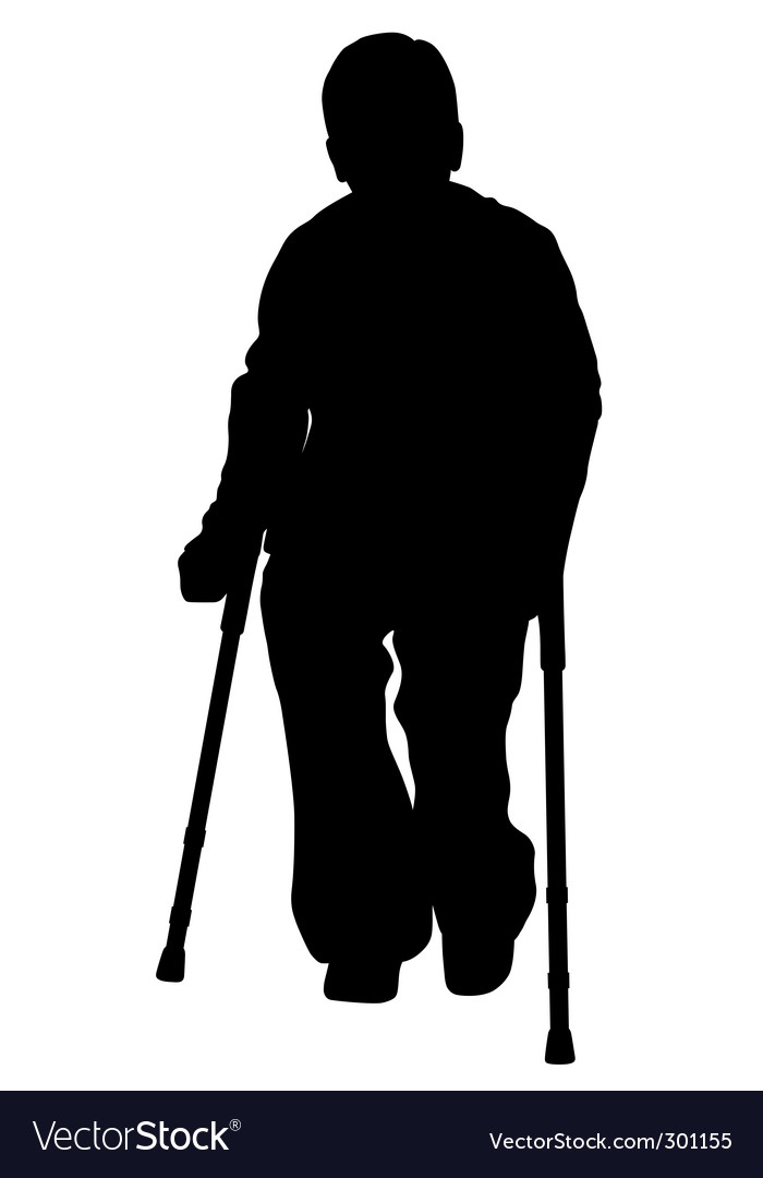 Disabled person with crutches vector | Price: 1 Credit (USD $1)