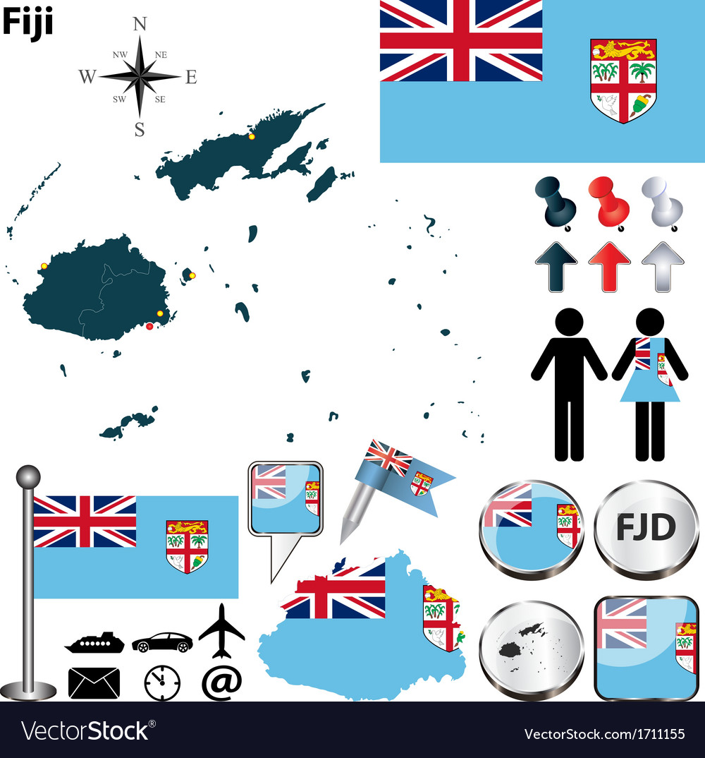 Fiji map vector | Price: 1 Credit (USD $1)