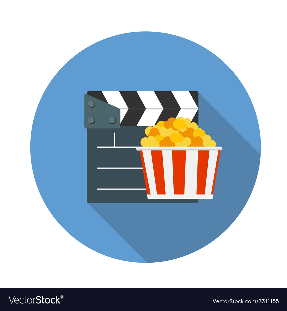 Flat design concept cinema icon with long sh vector | Price: 1 Credit (USD $1)