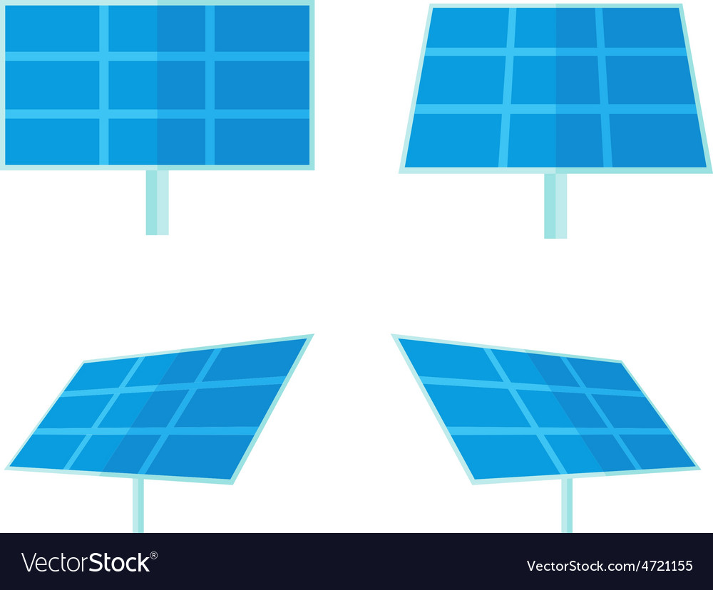 Four solar panels with white background vector | Price: 1 Credit (USD $1)