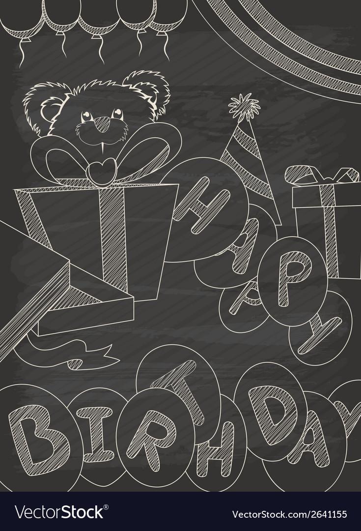 Happy birthday greeting card design in vintage sty vector   Price: 1 Credit (USD $1)