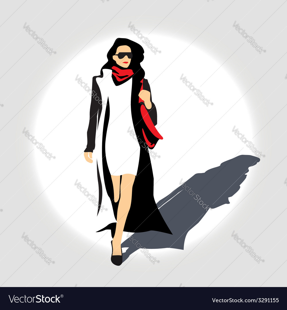 Lady with handbag vector | Price: 1 Credit (USD $1)