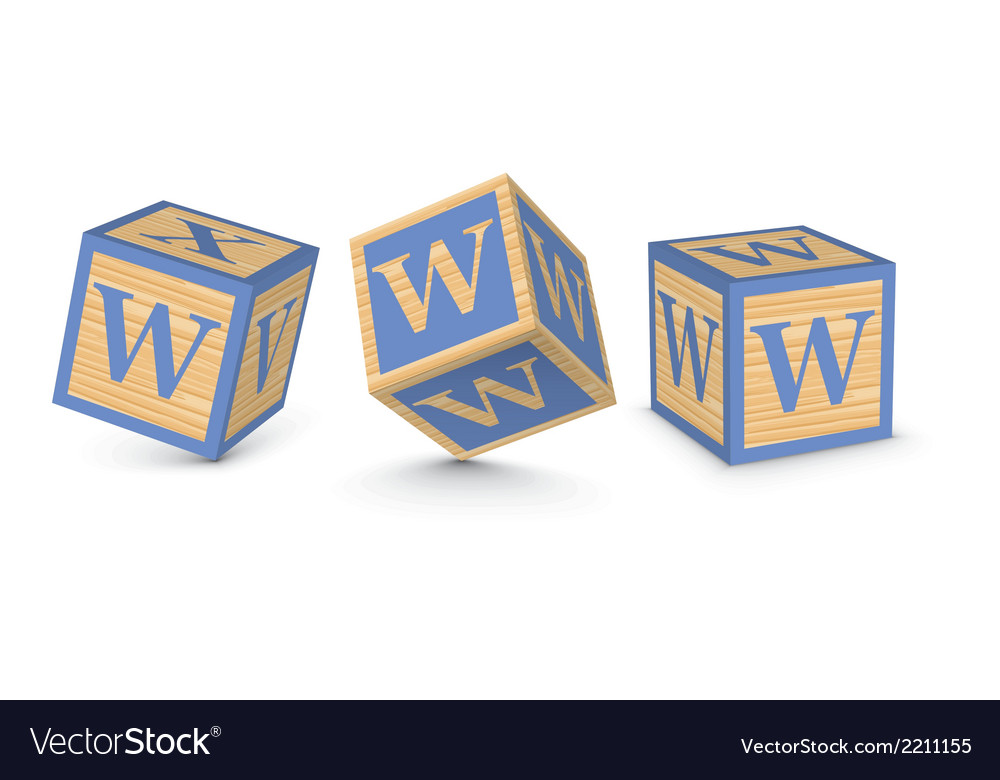 Letter w wooden alphabet blocks vector | Price: 1 Credit (USD $1)