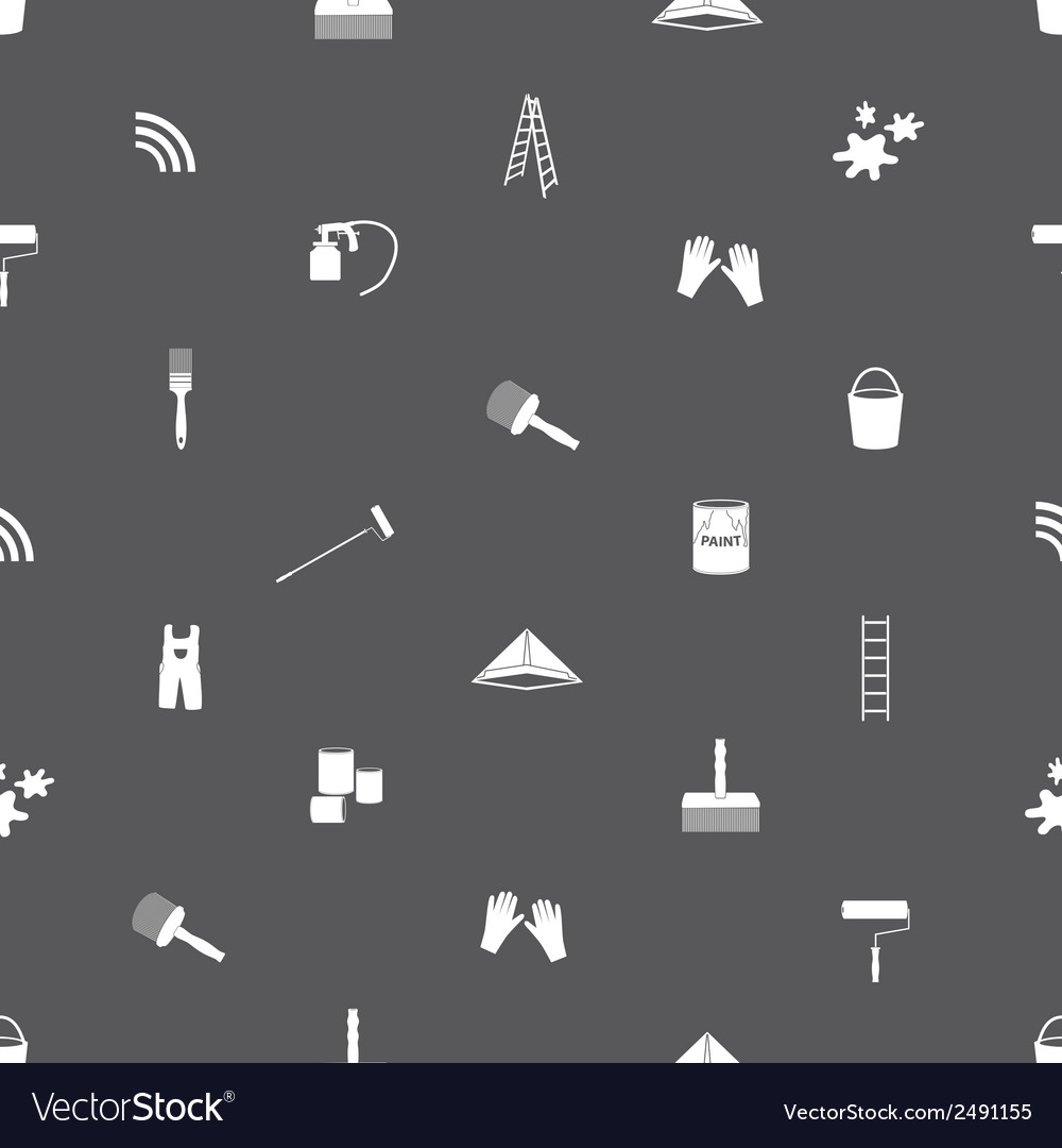 Paint icons seamless gray and white pattern eps10 vector | Price: 1 Credit (USD $1)