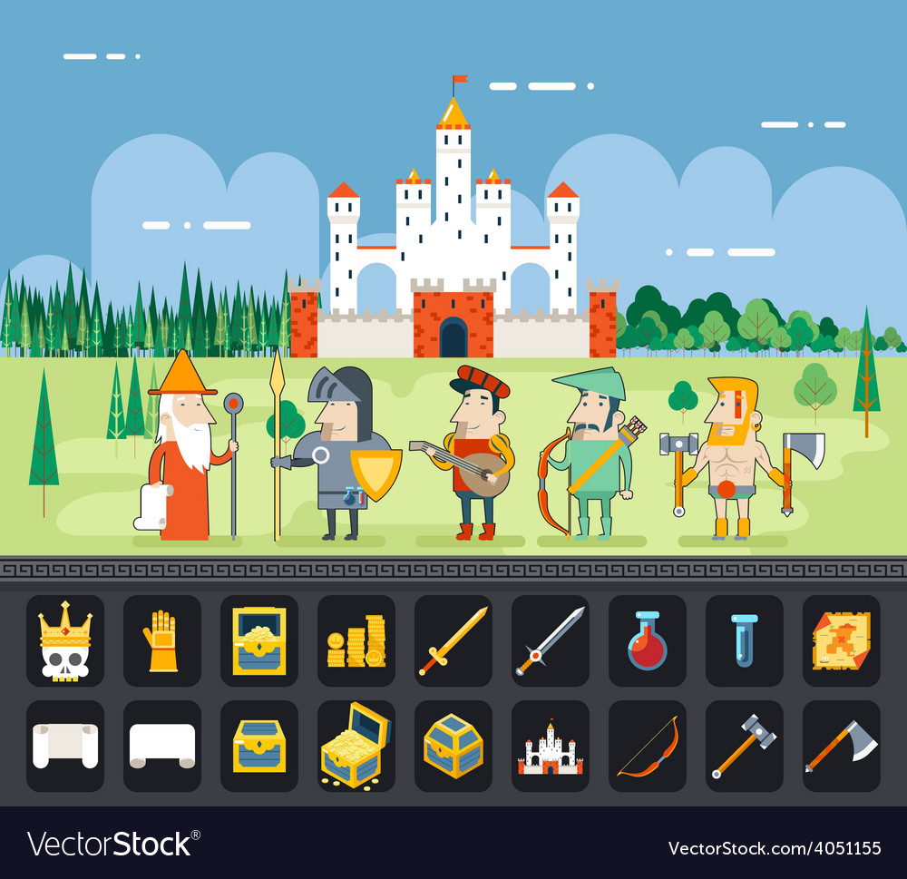 Rpg adventure mobile tablet pc web game screen vector | Price: 1 Credit (USD $1)