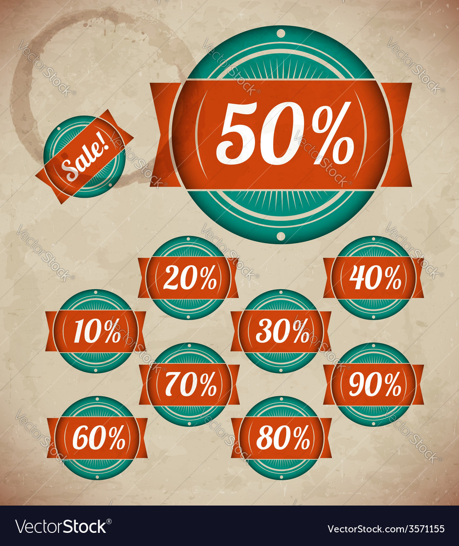 Set of retro sale labels vector | Price: 1 Credit (USD $1)