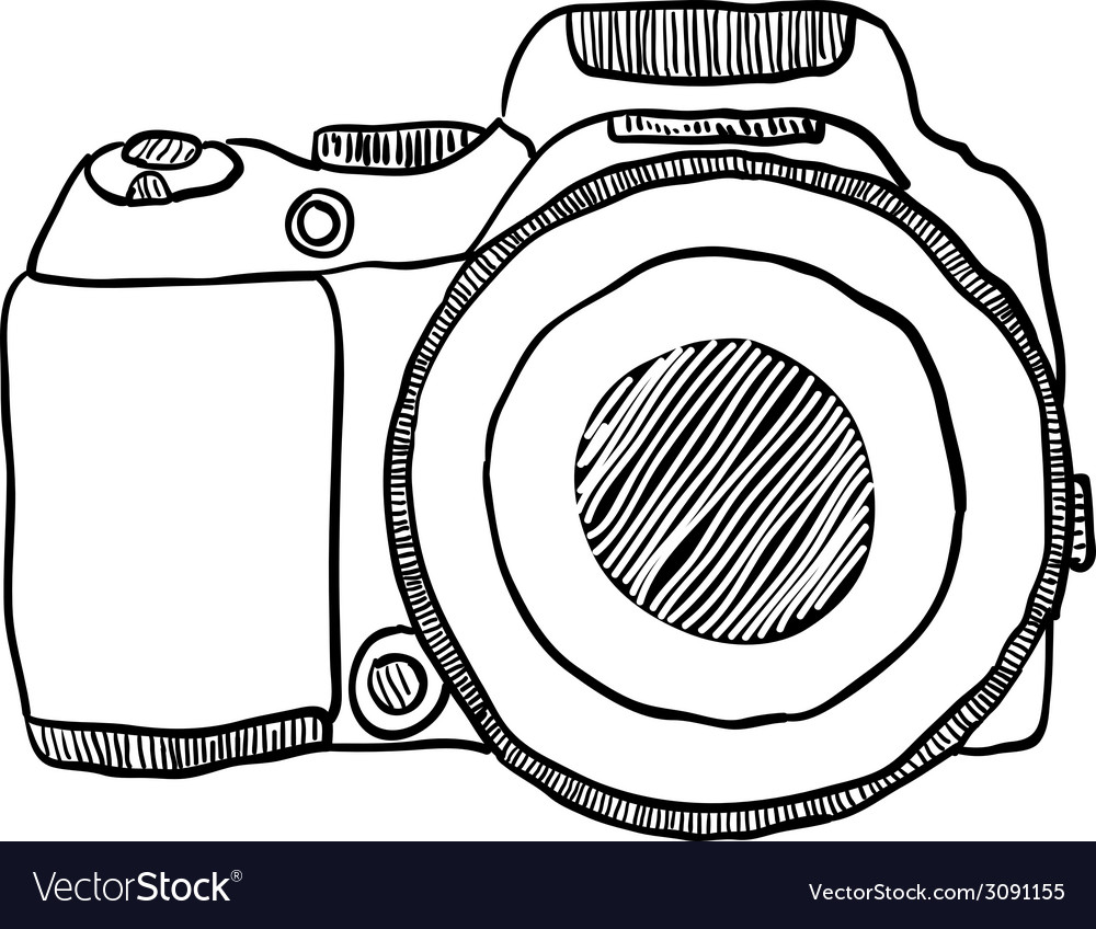 Sketch of a photo camera drawn by hand vector | Price: 1 Credit (USD $1)