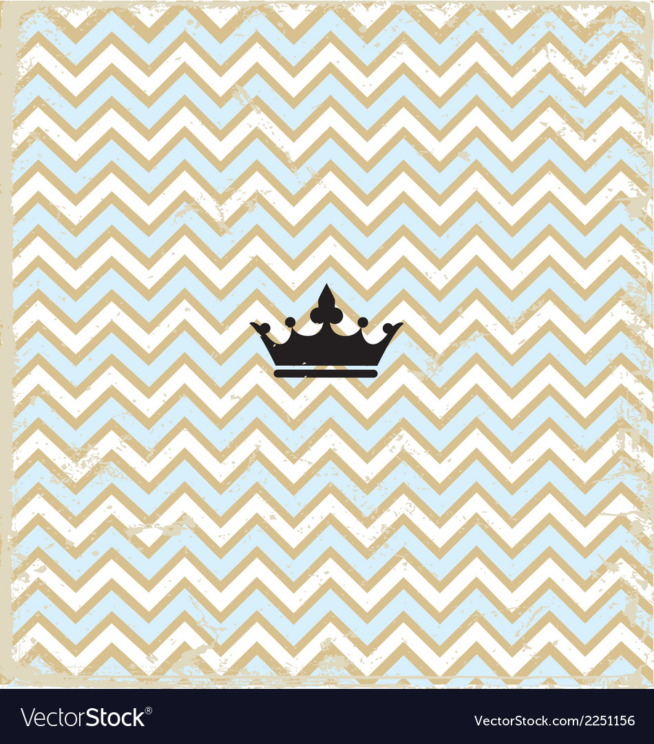 Blue zig zag pattern background vintage with crown vector | Price: 1 Credit (USD $1)