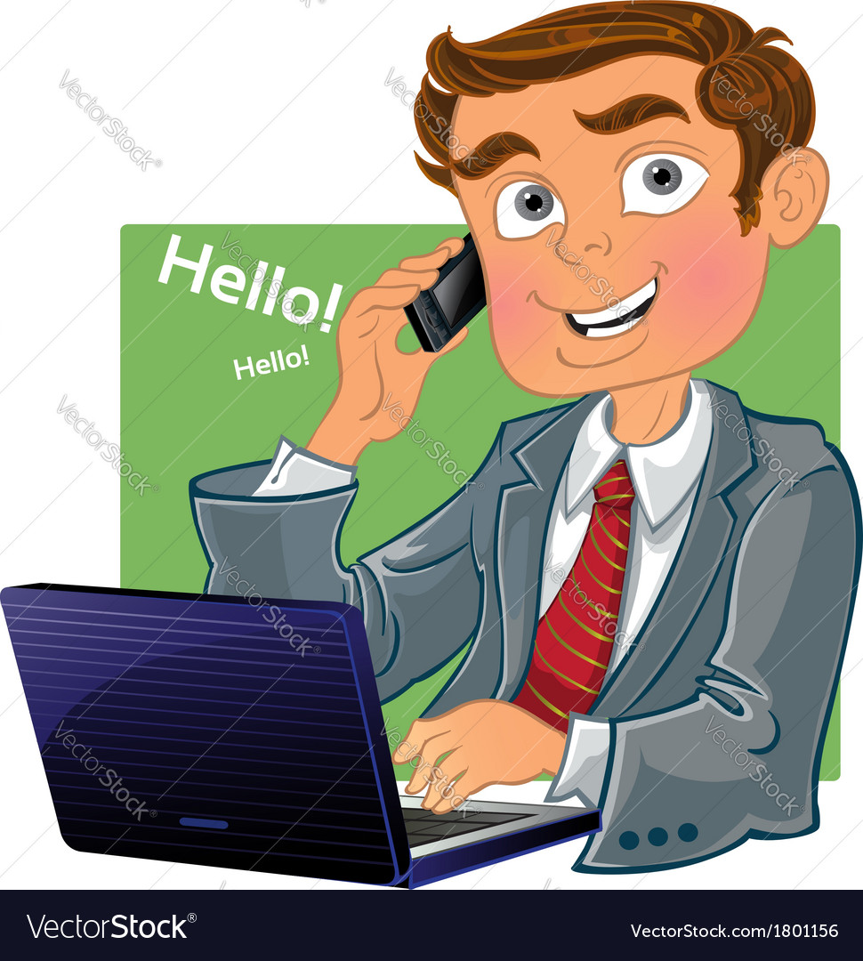 Brown-haired men with phone and laptop vector   Price: 3 Credit (USD $3)