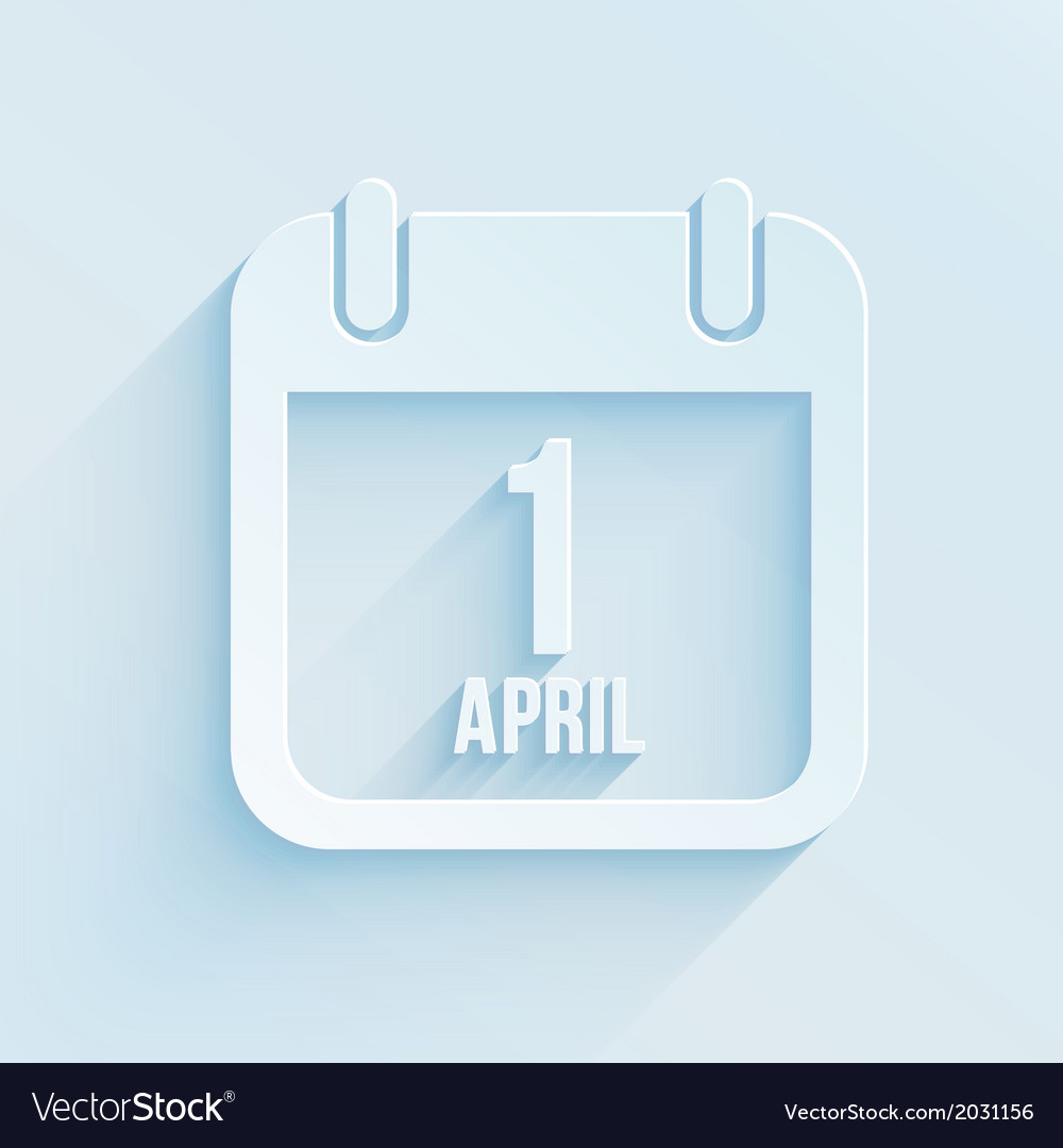 Calendar apps icon for 1 april fools day paper vector | Price: 1 Credit (USD $1)