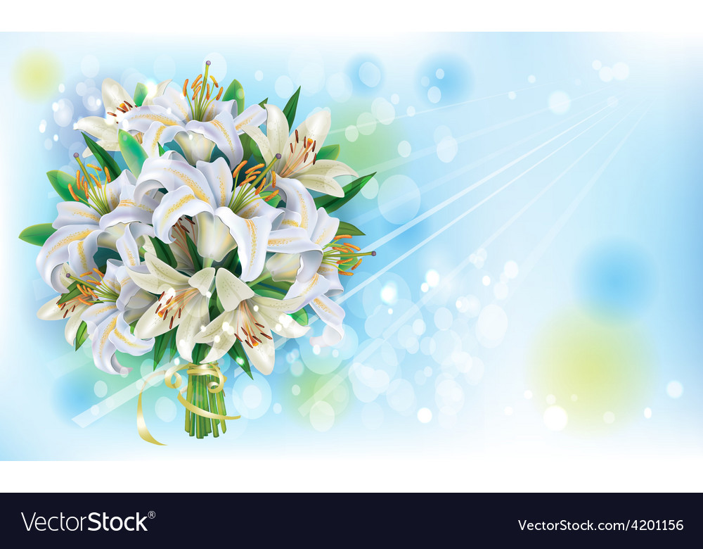 Card with bouquet of white lilies vector | Price: 3 Credit (USD $3)
