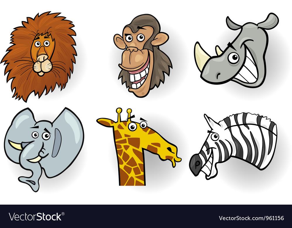 Cartoon wild animals heads set vector | Price: 3 Credit (USD $3)