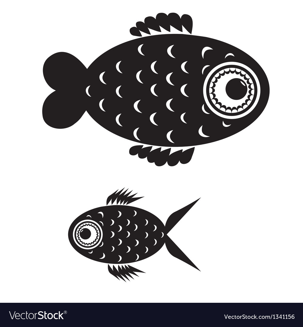 Fish black and white vector | Price: 1 Credit (USD $1)