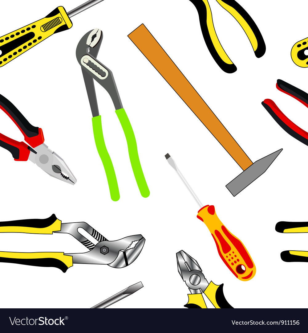 Hand tools seamless pattern vector | Price: 1 Credit (USD $1)