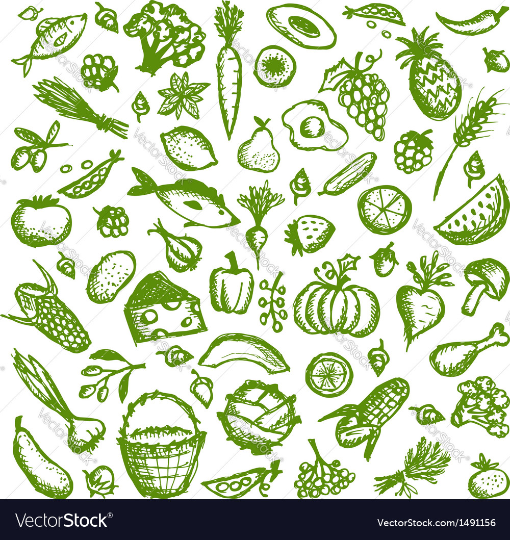 Healthy food background sketch for your design vector | Price: 1 Credit (USD $1)