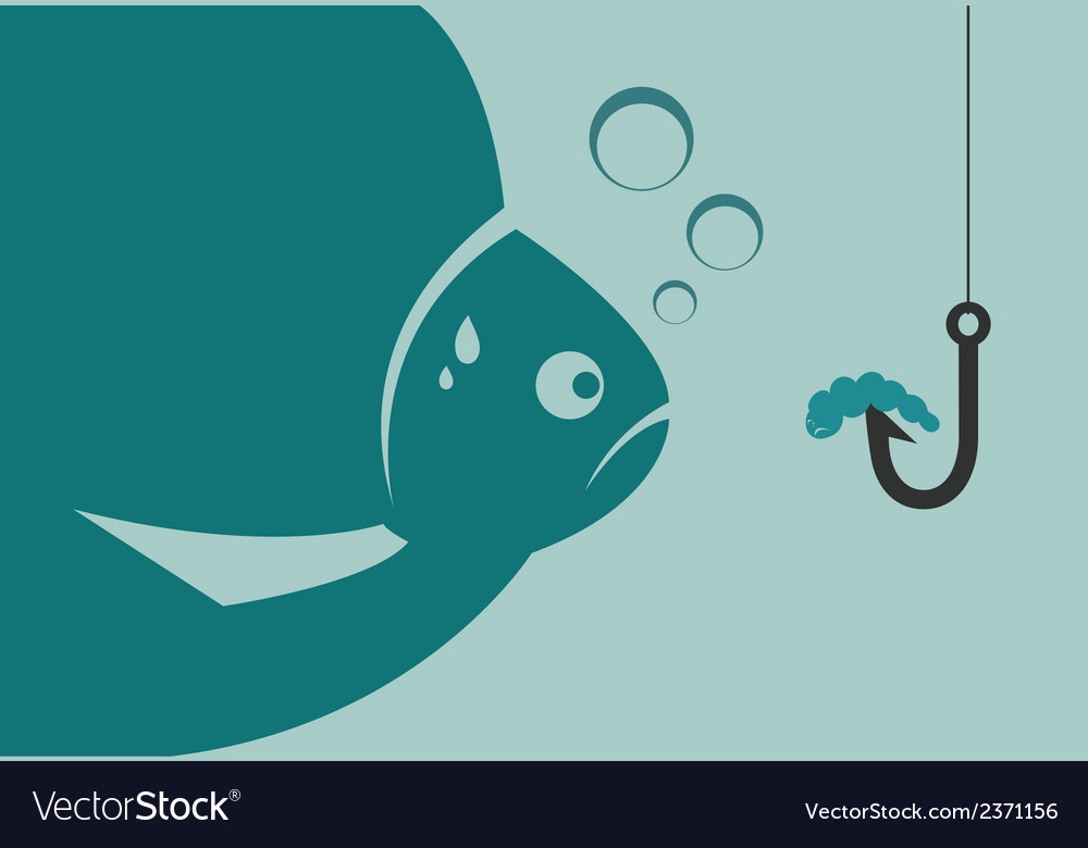 Large fish looking at a worm vector | Price: 1 Credit (USD $1)