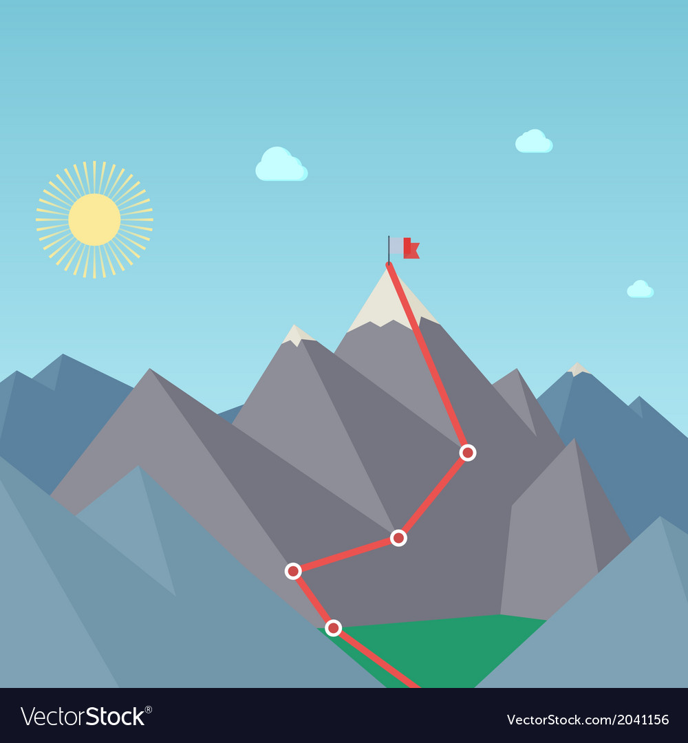 Mountaineering route goal achievement concept vector | Price: 1 Credit (USD $1)