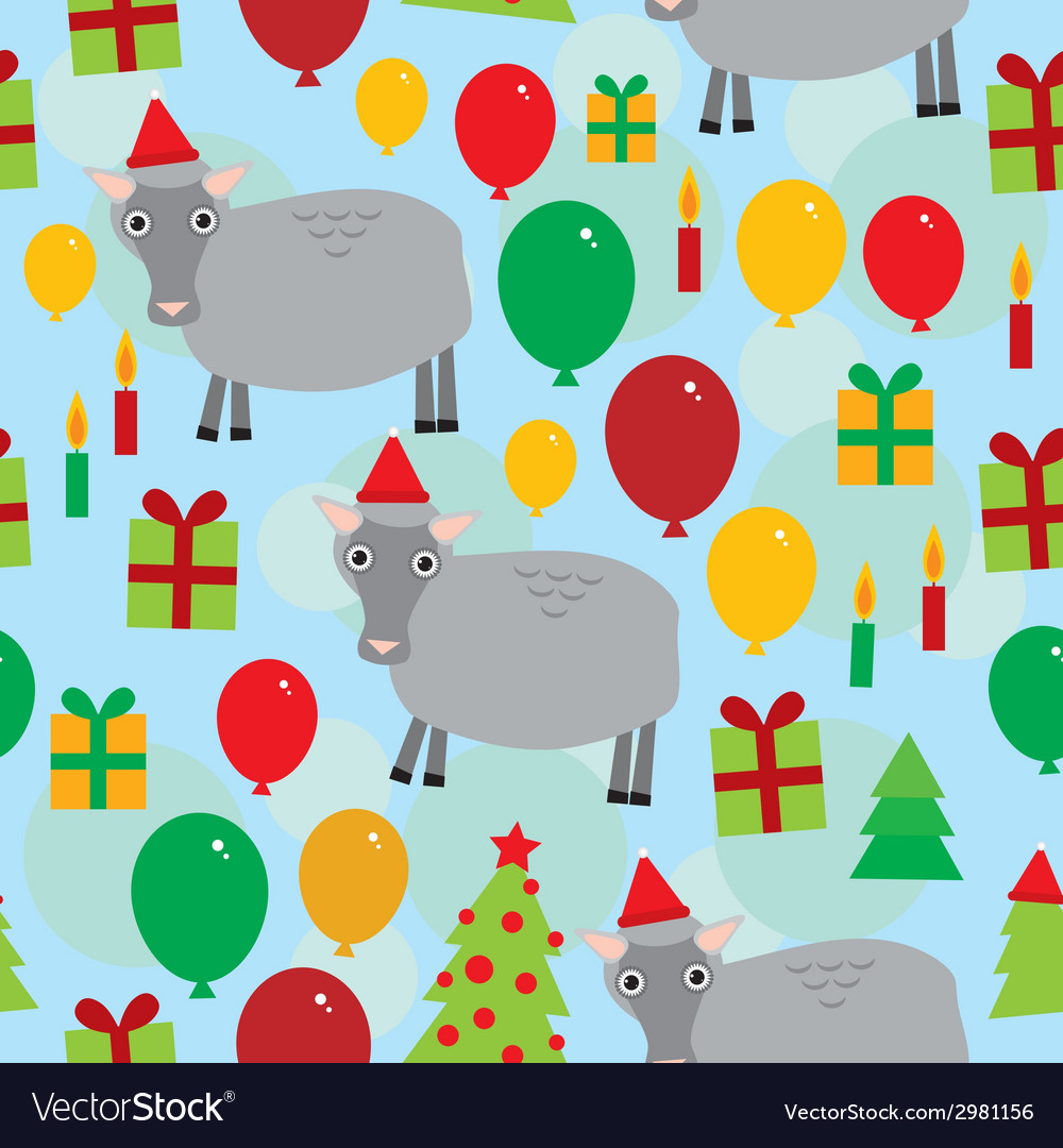 New year christmas seamless pattern on a blue vector | Price: 1 Credit (USD $1)