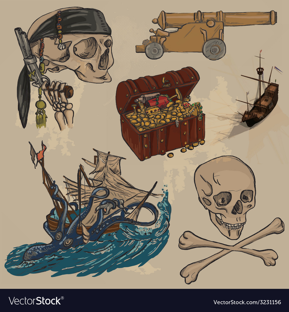 Pirates - an hand drawn colored pack no3 vector | Price: 1 Credit (USD $1)
