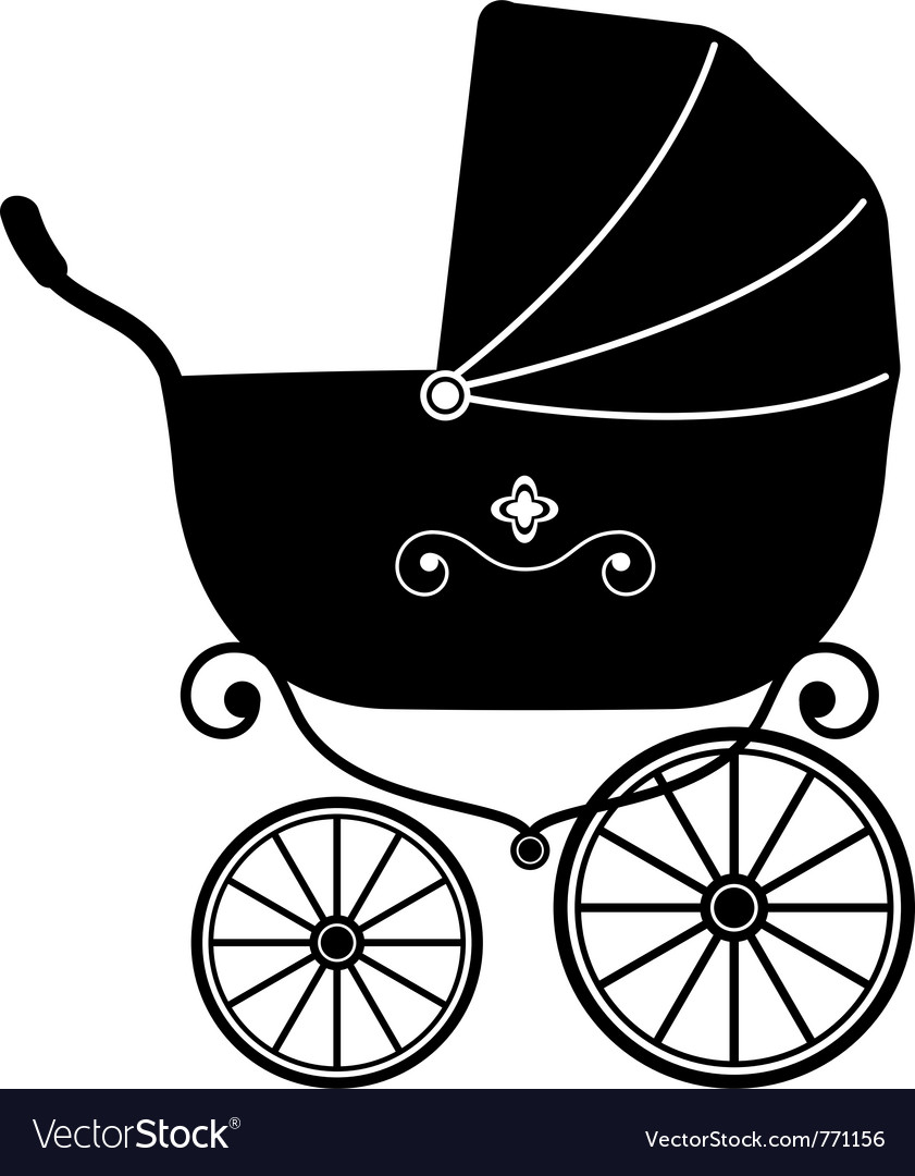 Pram silhouette vector | Price: 1 Credit (USD $1)