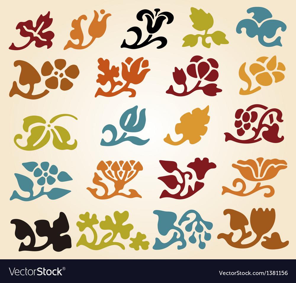 Retro floral elements vector   Price: 1 Credit (USD $1)