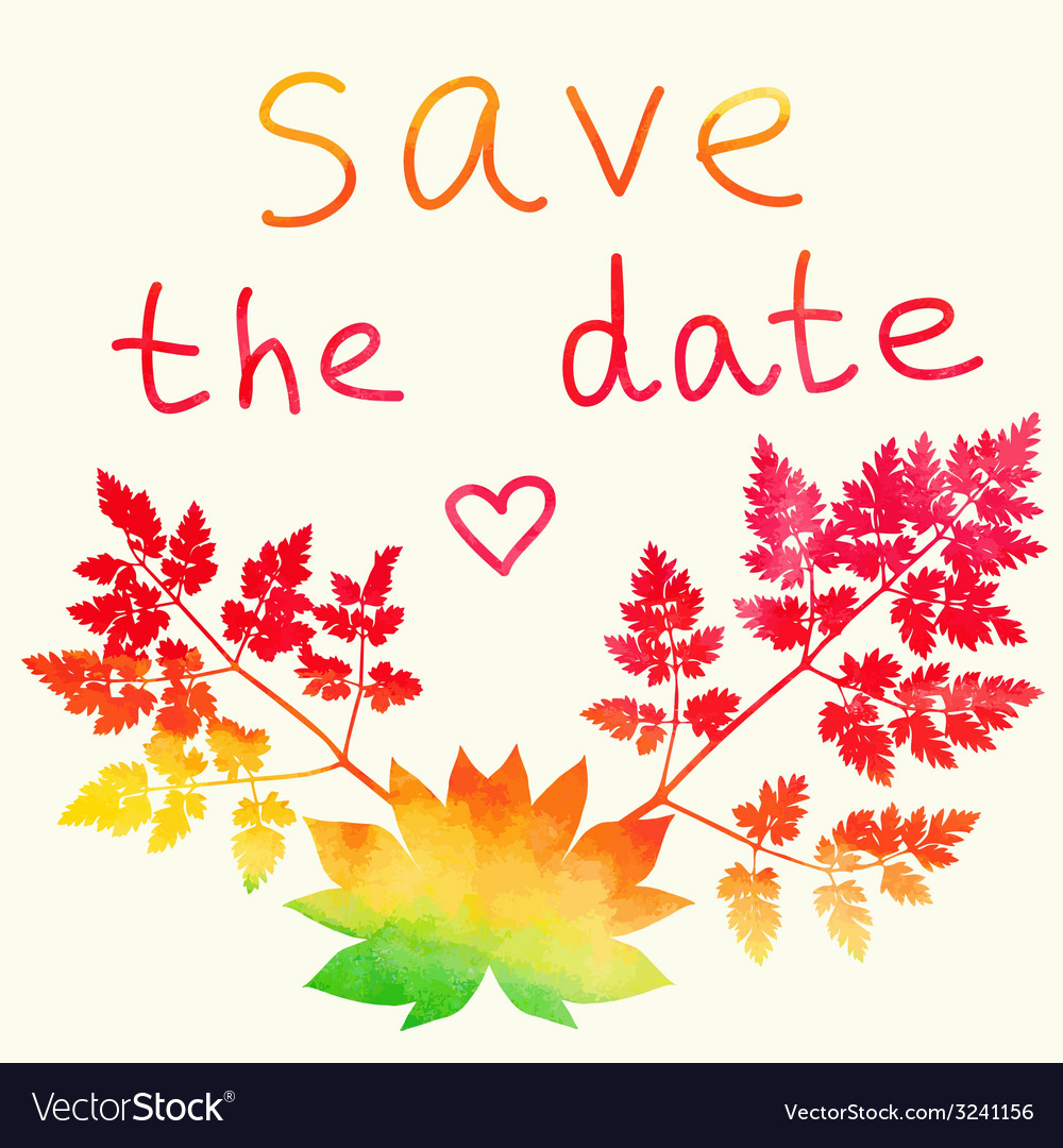 Save the date card watercolor rainbow vector | Price: 1 Credit (USD $1)