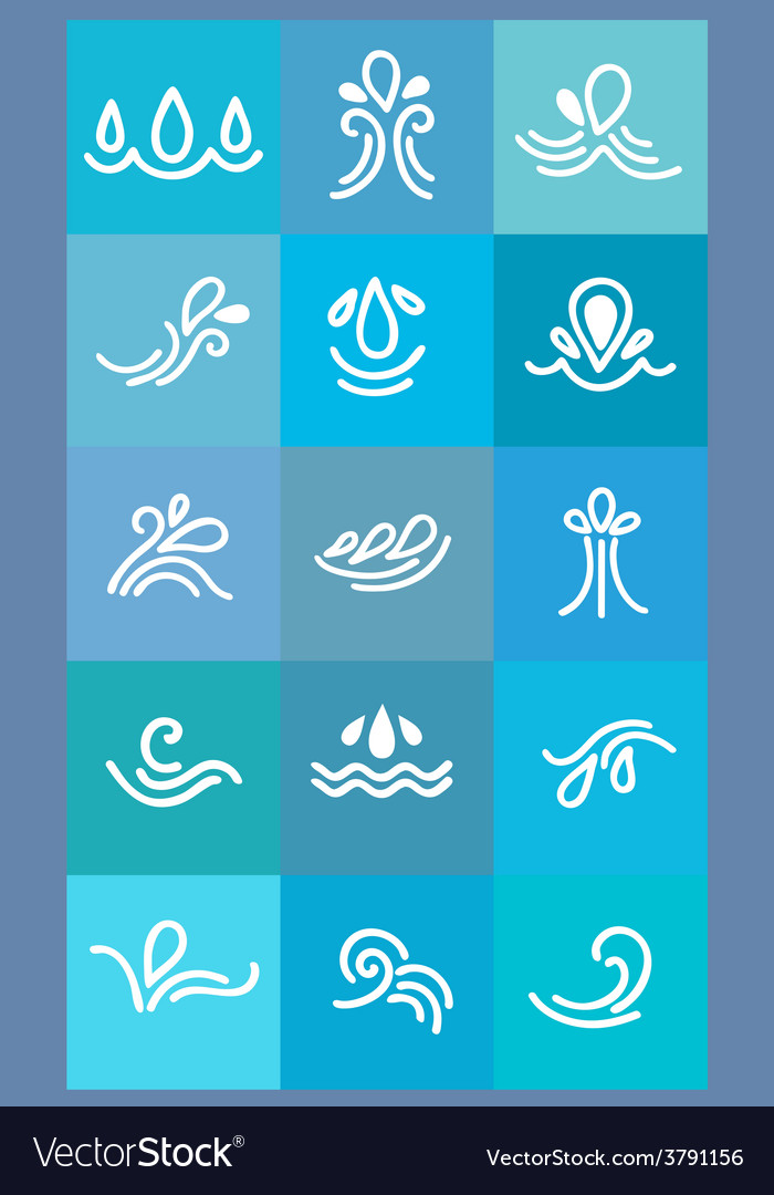 Set icons stylized waves and drops vector | Price: 1 Credit (USD $1)