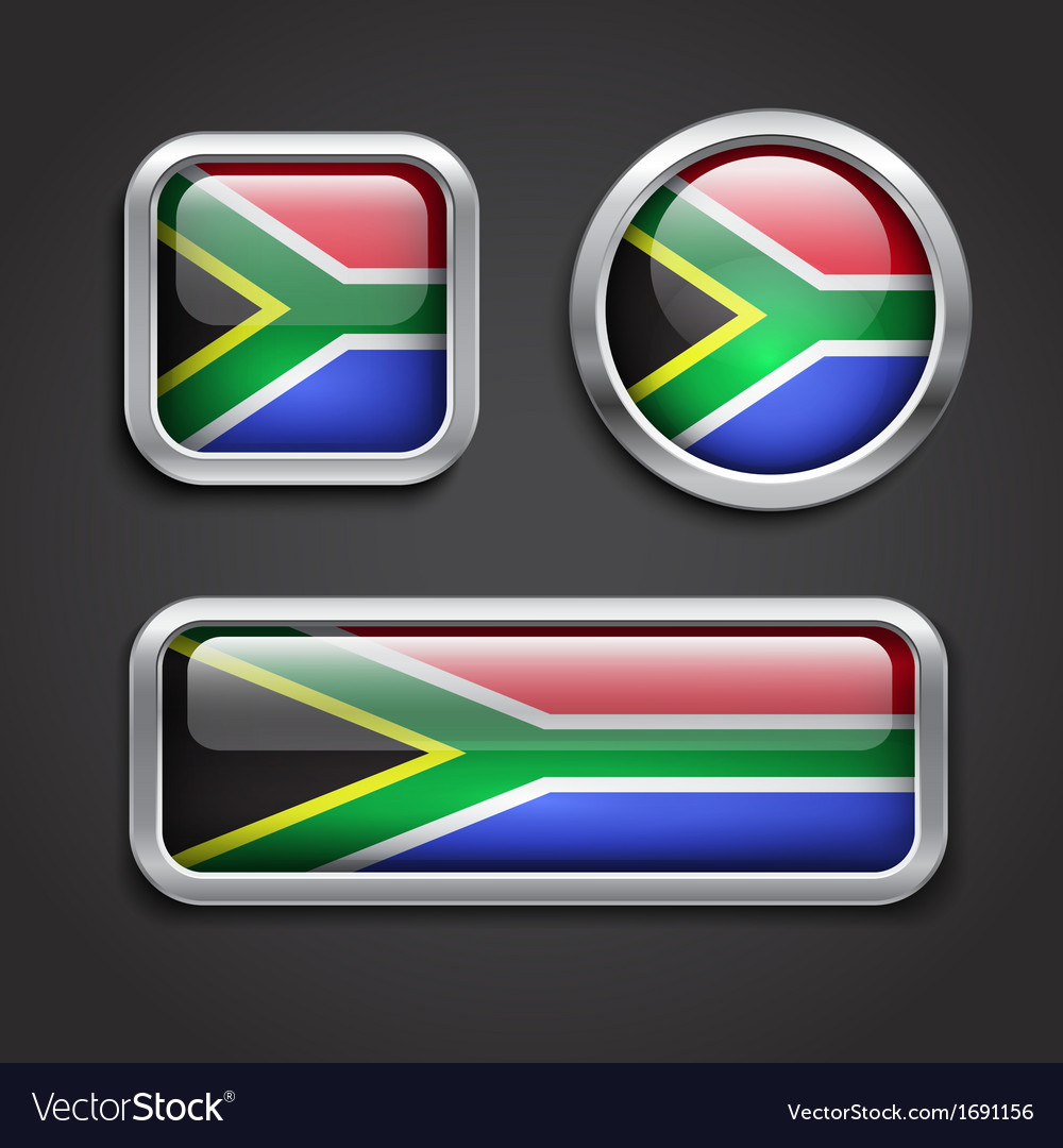 South africa flag glass buttons vector | Price: 1 Credit (USD $1)