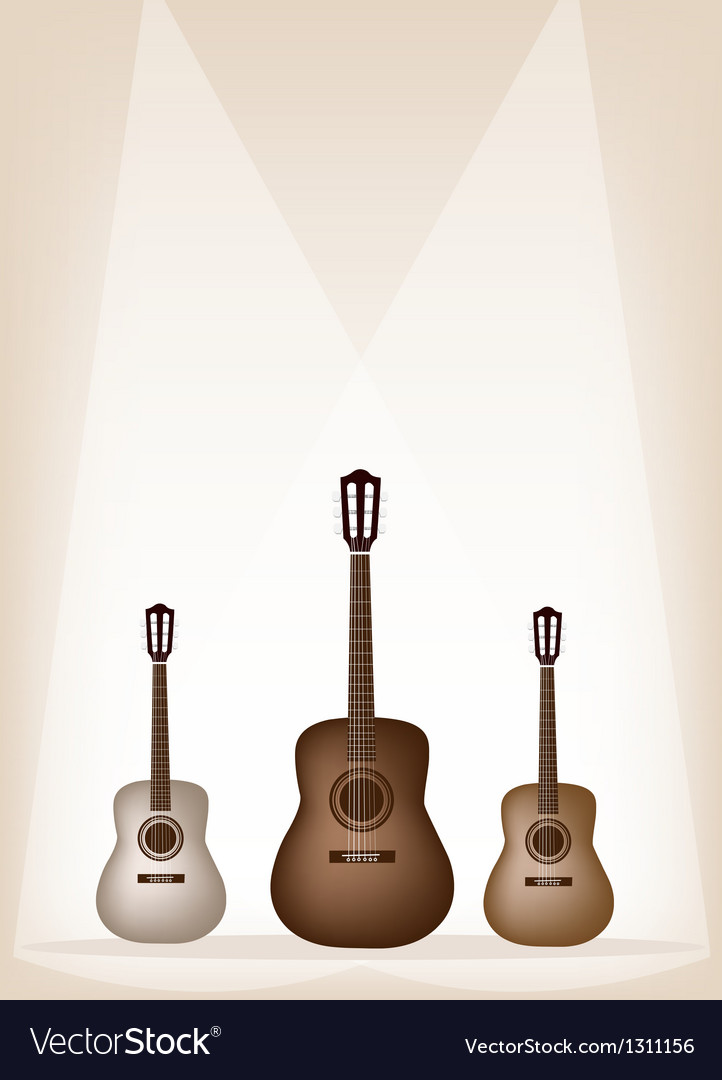Three beautiful guitar on brown stage background vector | Price: 1 Credit (USD $1)