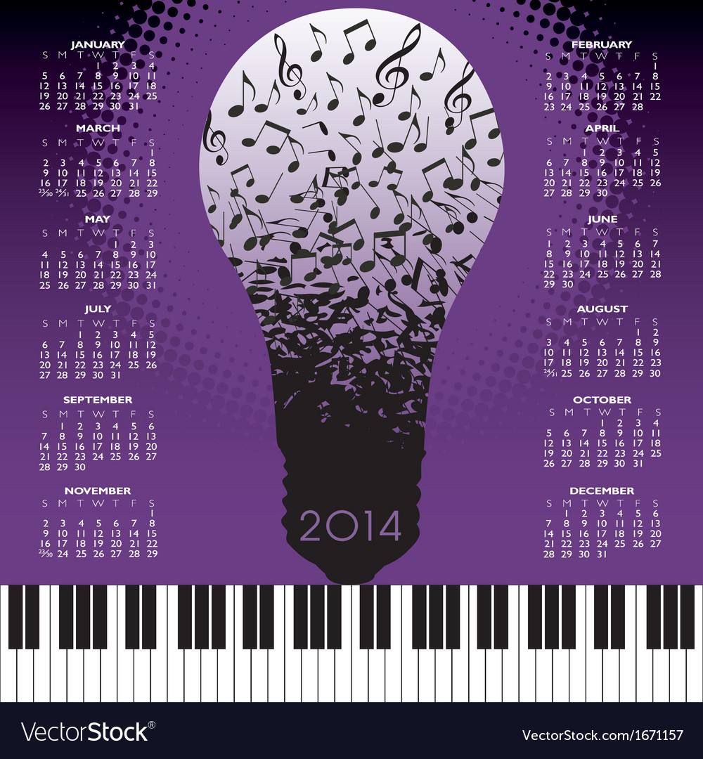 2014 music notes bulb calendar vector | Price: 1 Credit (USD $1)