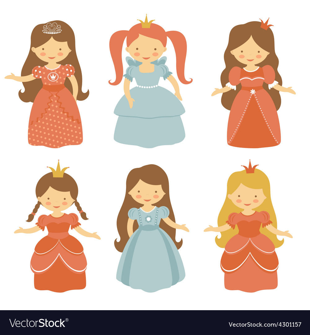 Beautiful princesses set vector | Price: 1 Credit (USD $1)