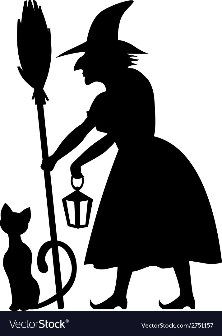 Cat and witch vector | Price: 1 Credit (USD $1)