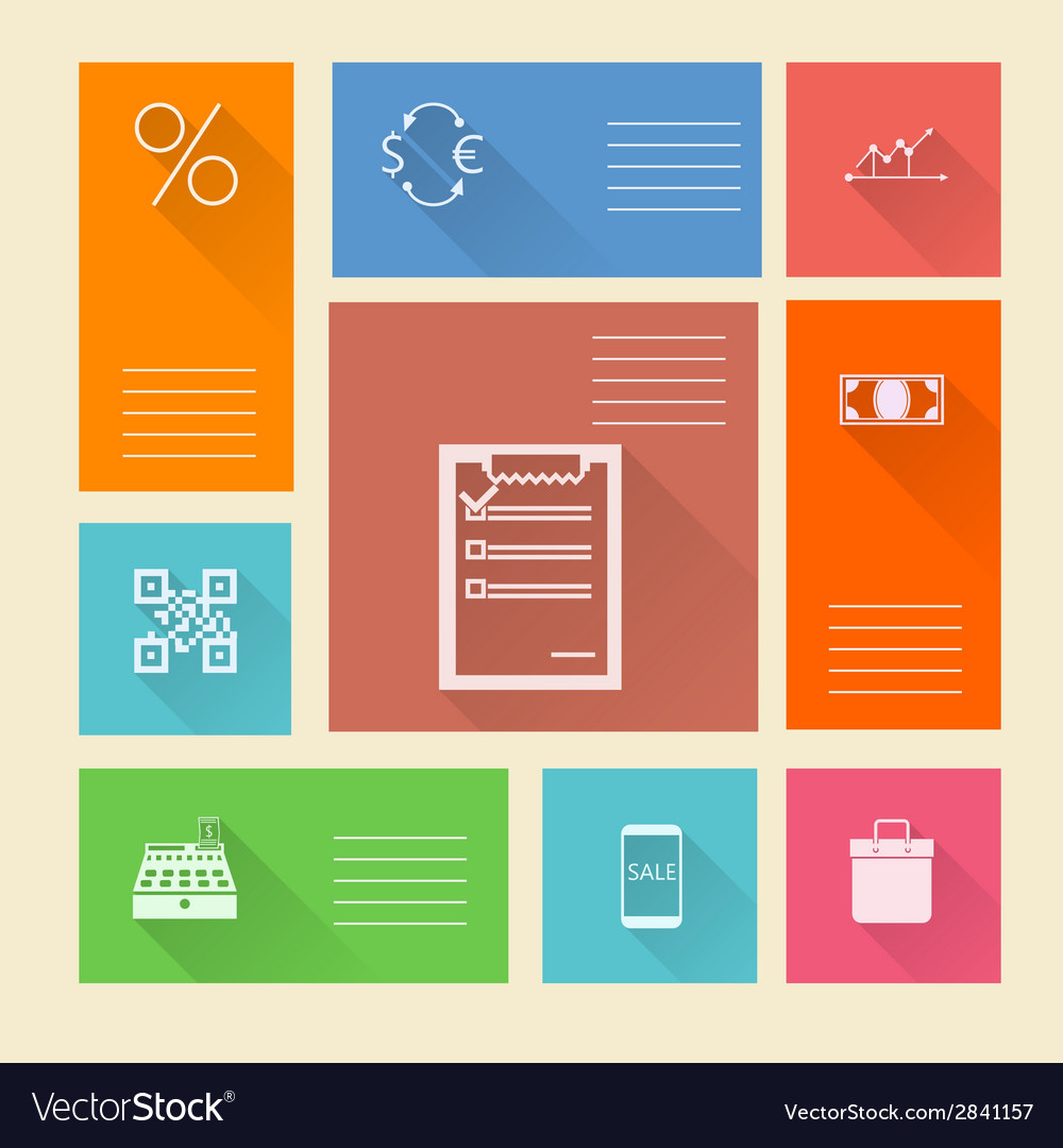 Flat square icons for web payment vector | Price: 1 Credit (USD $1)
