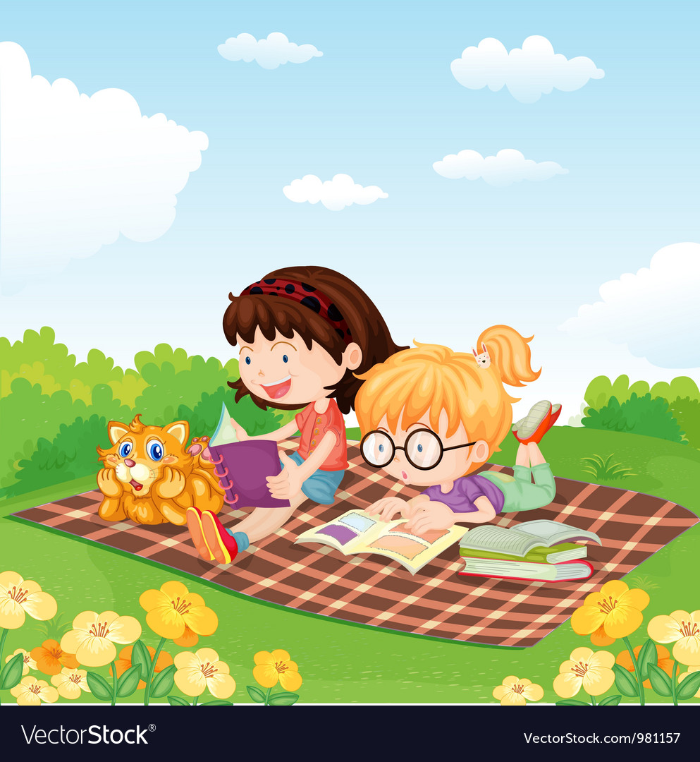Girls reading book vector | Price: 3 Credit (USD $3)