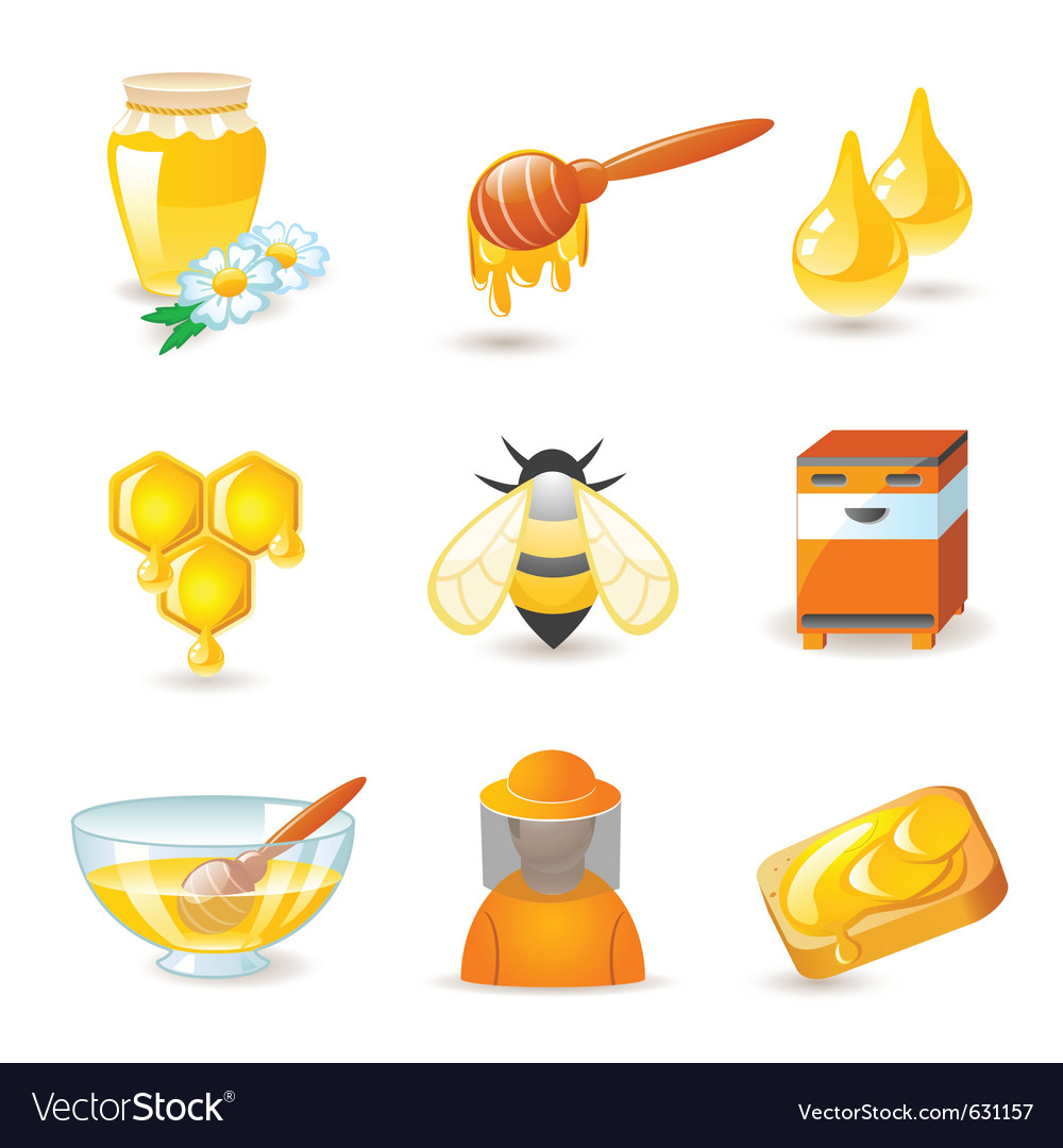 Honey and beekeeping icons vector | Price: 1 Credit (USD $1)