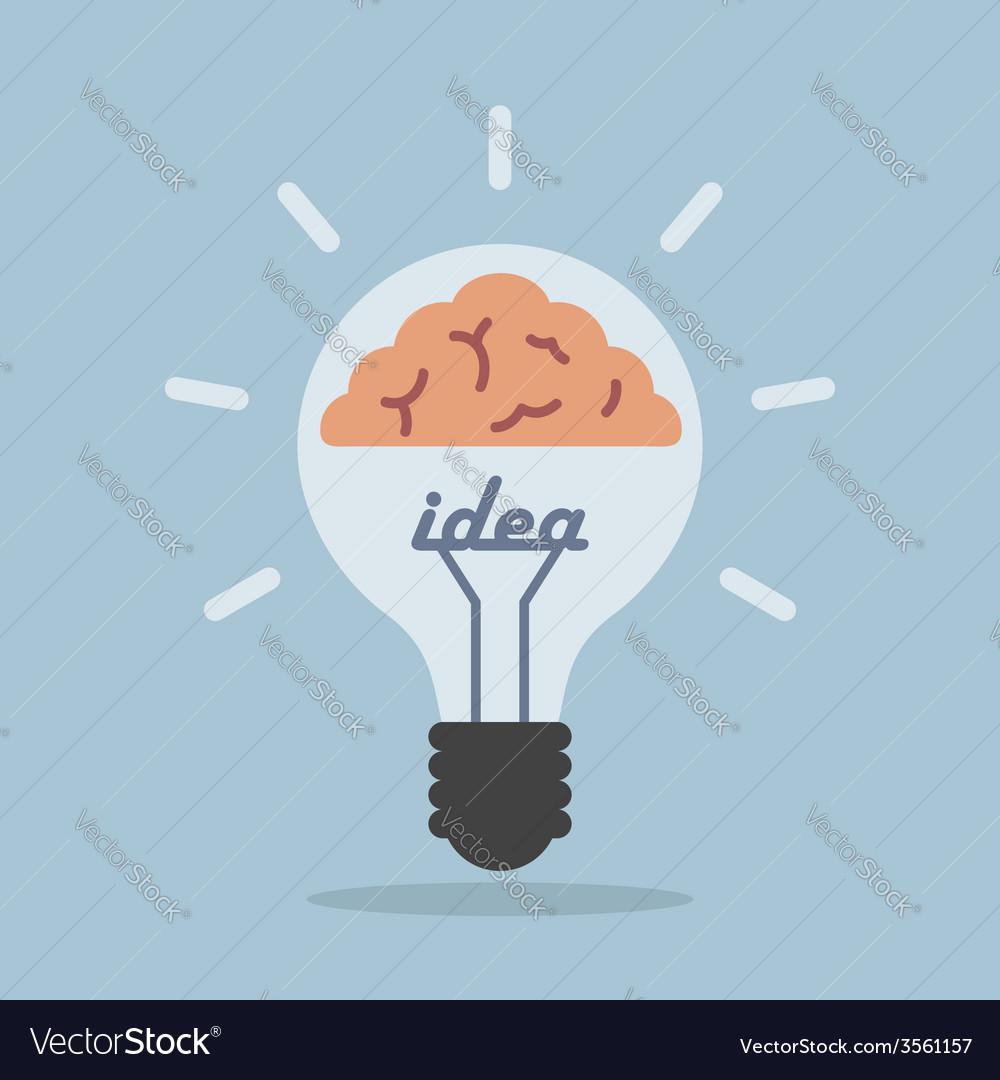 Light bulb with brain idea concept vector | Price: 1 Credit (USD $1)