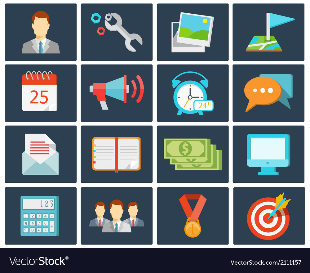 Office flat icons vector | Price: 1 Credit (USD $1)