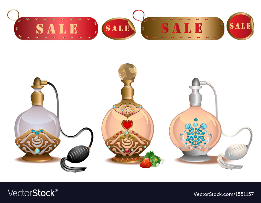 Perfume bottles with sale labels vector | Price: 1 Credit (USD $1)