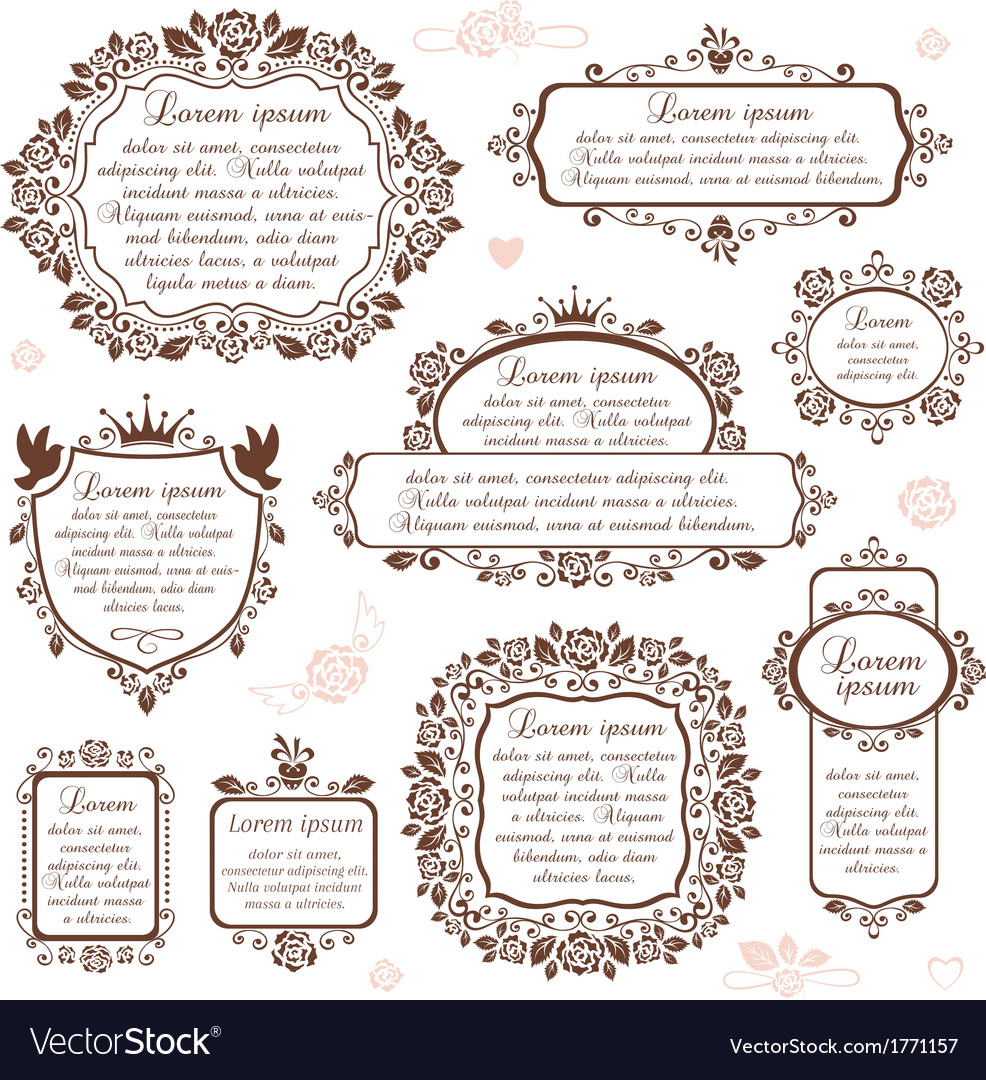 Set of ornamental romantic frames vector | Price: 1 Credit (USD $1)