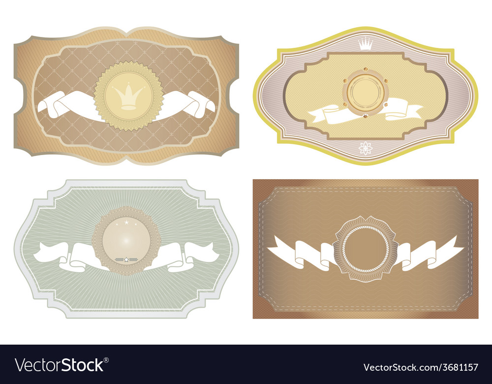 Set of vintage framed ornate labels vector | Price: 1 Credit (USD $1)