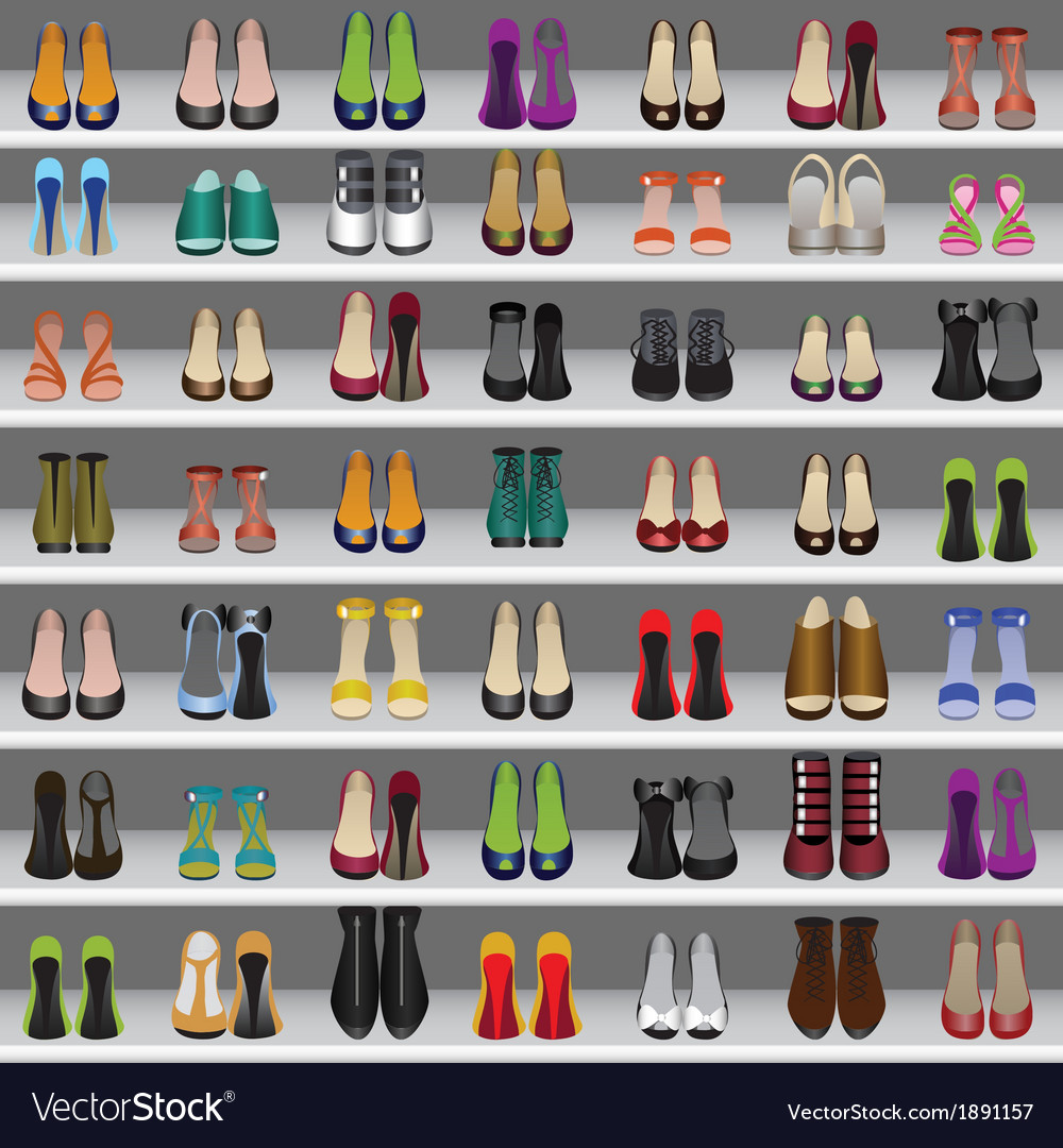 Shoes on shelves seamless background vector | Price: 1 Credit (USD $1)