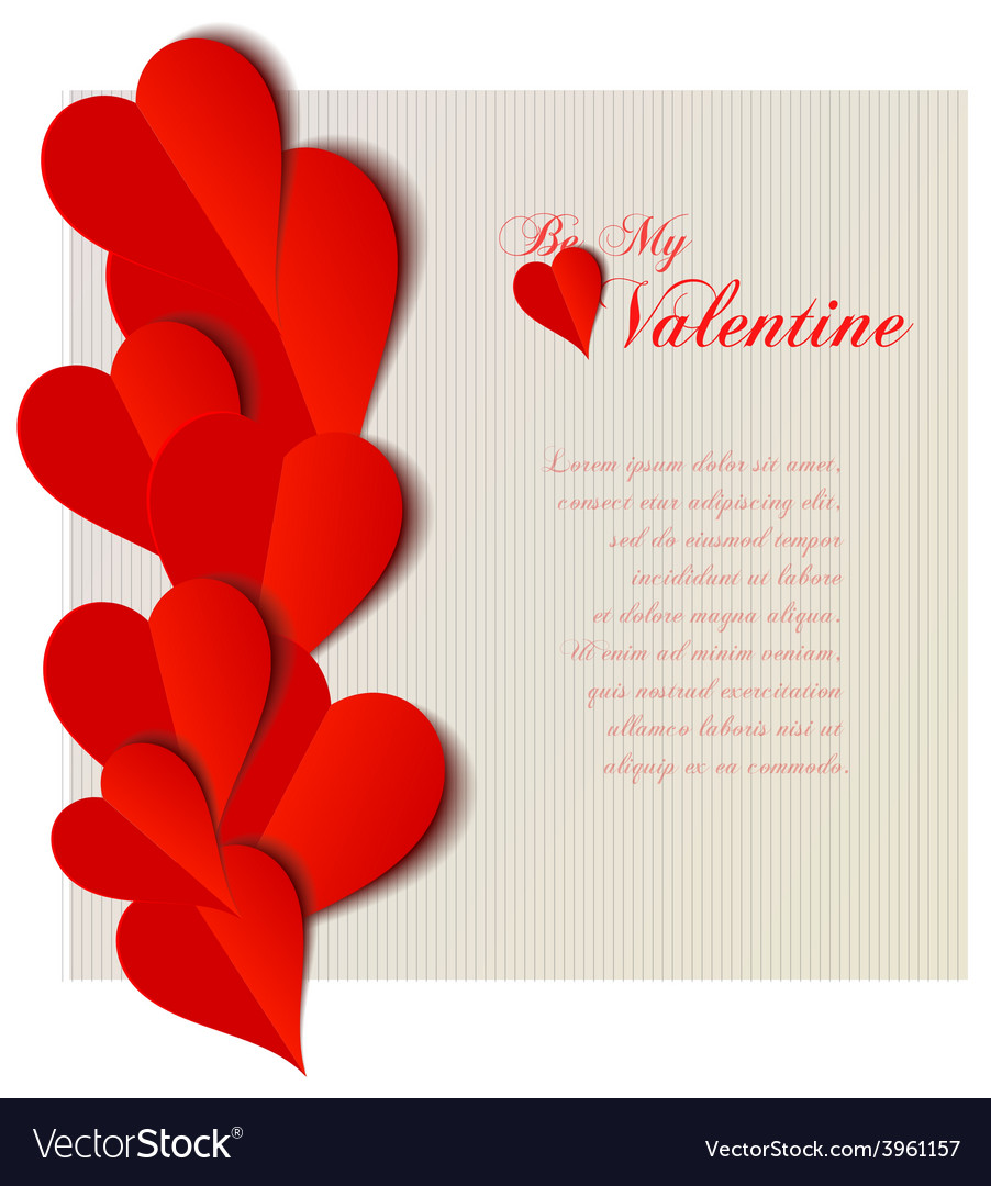 Valentine hearts cutout design card vector | Price: 1 Credit (USD $1)