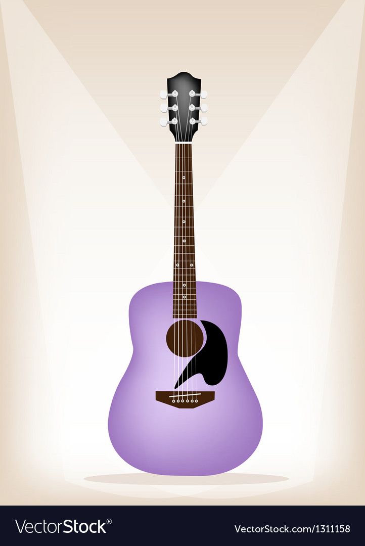 Beautiful purple guitar on brown stage background vector | Price: 1 Credit (USD $1)