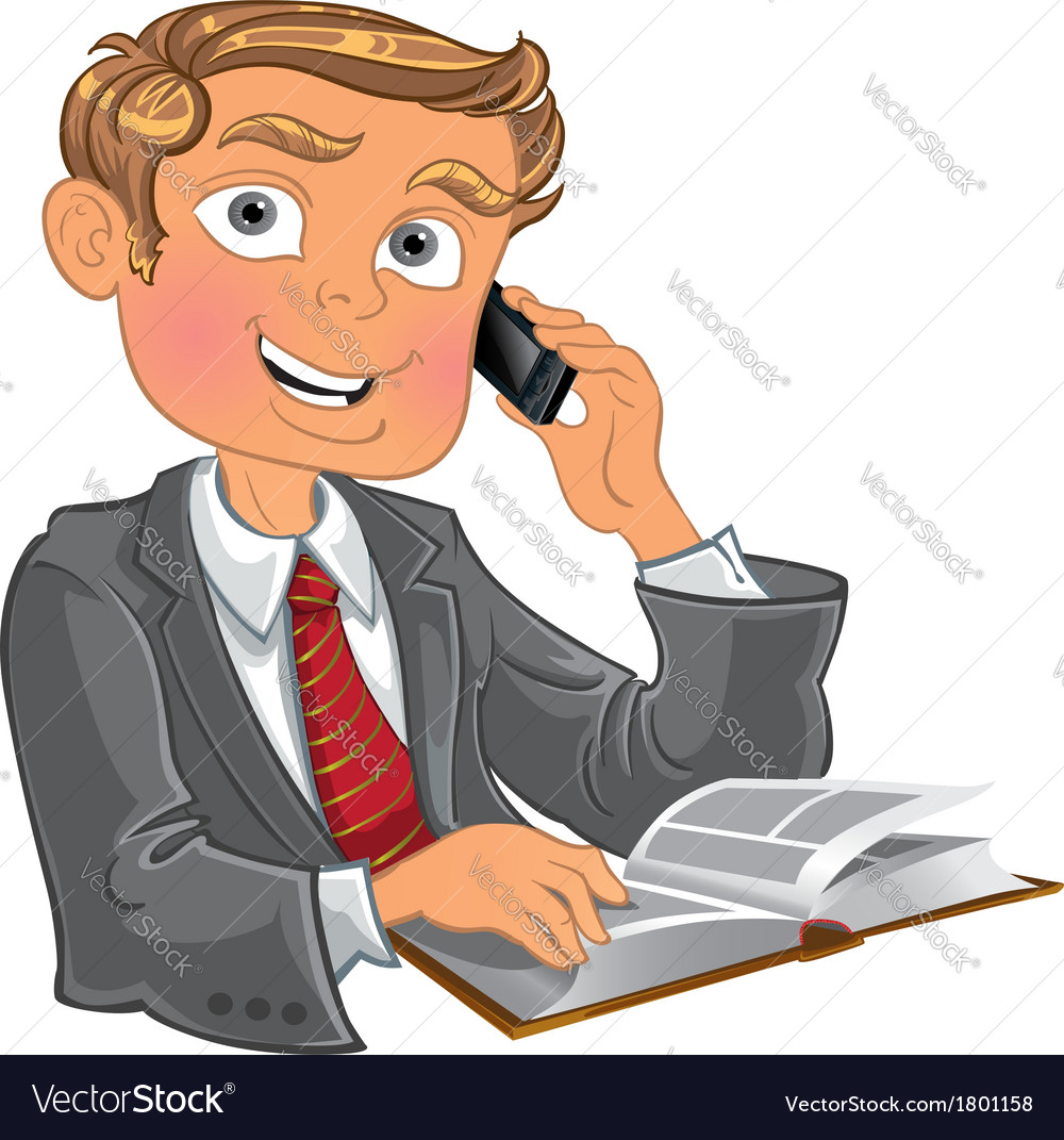 Blond men with phone and book vector | Price: 3 Credit (USD $3)