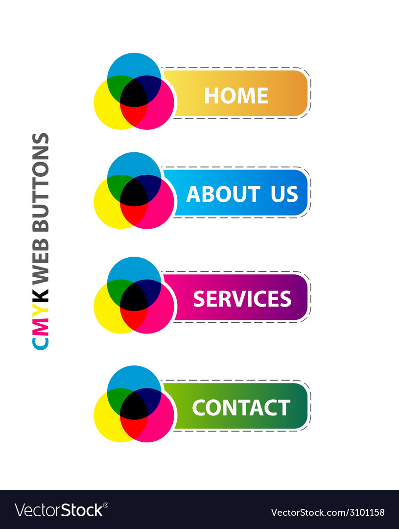 Cmyk web buttons interface set vector | Price: 1 Credit (USD $1)