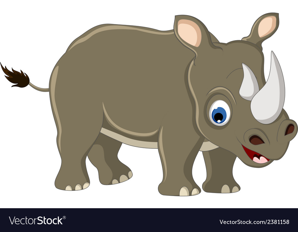 Cute rhino cartoon vector | Price: 1 Credit (USD $1)